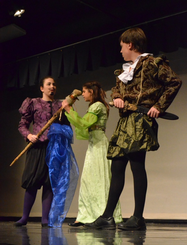 Hallie Gee, left, as Prospero; Lyteesia Lamb as Miranda, center; and Milo Hults as Ferdinand.