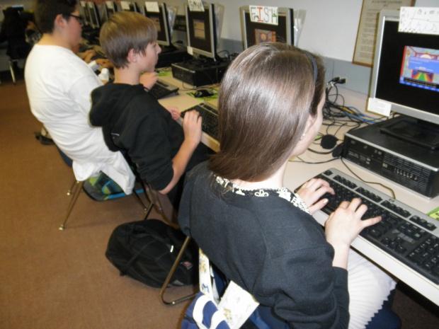 Dixon students hard at work coding.
